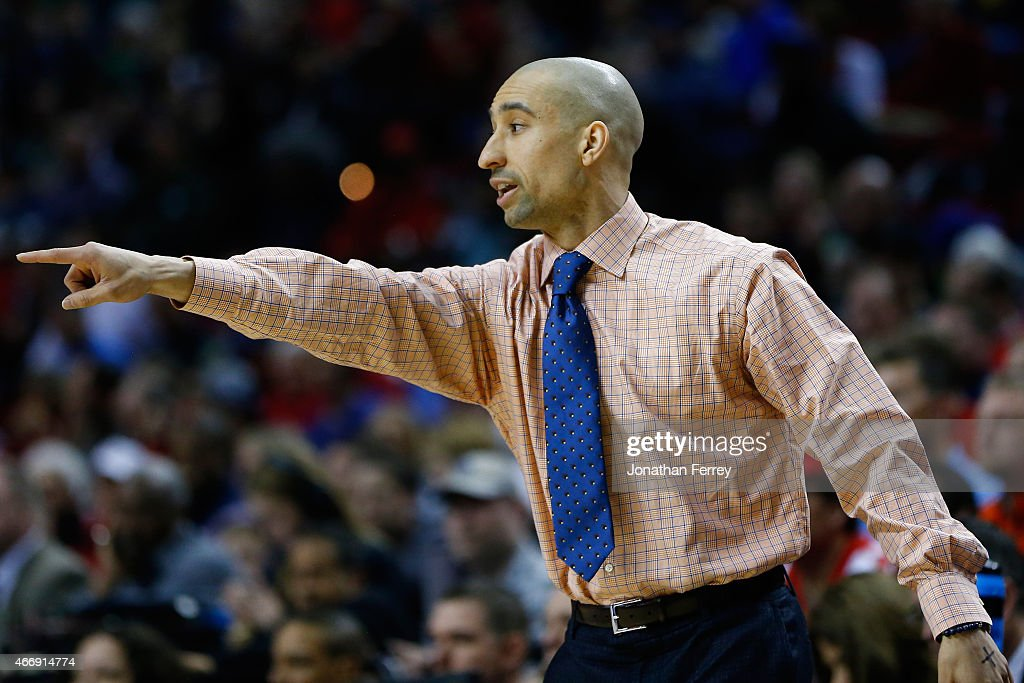 Head coach <a gi-track='captionPersonalityLinkClicked' href=/galleries/search?phrase=Shaka+Smart&family=editorial&specificpeople=6845771 ng-click='$event.stopPropagation()'>Shaka Smart</a> of the Virginia Commonwealth Rams looks on as the Virginia Commonwealth Rams play the Ohio State Buckeyes during the second round of the 2015 NCAA Men's Basketball Tournament at Moda Center on March 19, 2015 in Portland, Oregon.