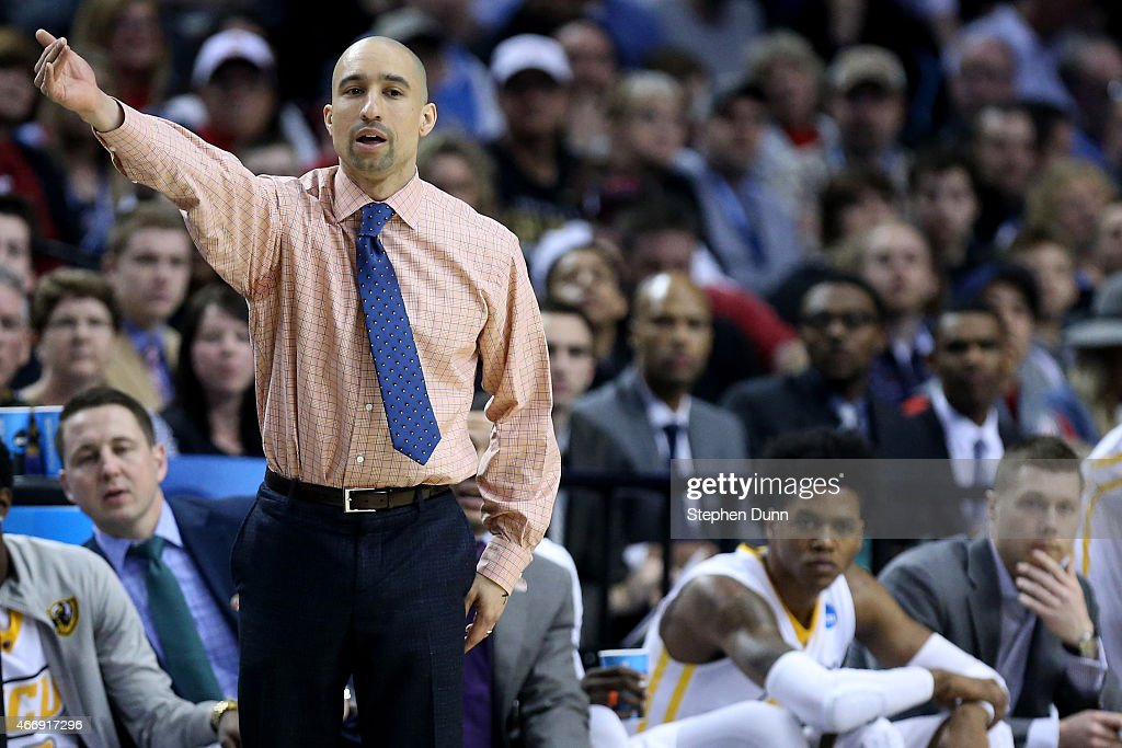 Head coach <a gi-track='captionPersonalityLinkClicked' href=/galleries/search?phrase=Shaka+Smart&family=editorial&specificpeople=6845771 ng-click='$event.stopPropagation()'>Shaka Smart</a> of the Virginia Commonwealth Rams looks on against the Ohio State Buckeyes in the first half during the second round of the 2015 NCAA Men's Basketball Tournament at Moda Center on March 19, 2015 in Portland, Oregon.