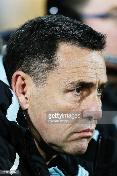 Head coach Shane Flanagan of the Sharks looks on during the round 21 NRL match between the New Zealand Warriors and the Cronulla Sharks at Mt Smart...