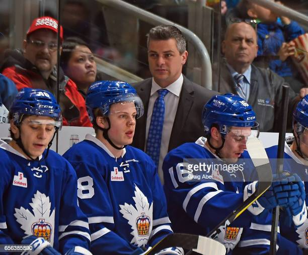 Head Coach Sheldon Keefe of the Toronto Marlies watches the play against the Binghamton Senators on March 18 2017 at Air Canada Centre in Toronto...