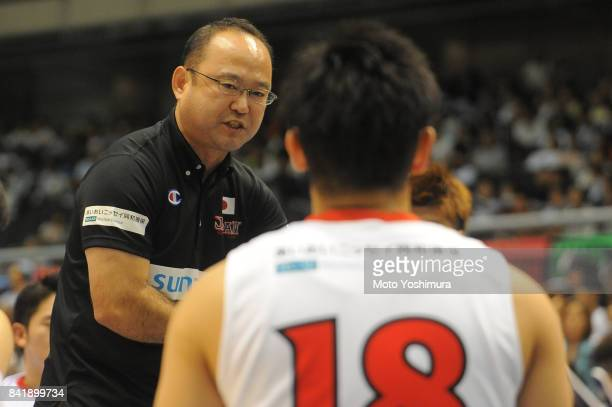 Head coach Shimpei Oikawa of Japan gives instruction to his players during the Wheelchair Basketball World Challenge Cup third place match between...