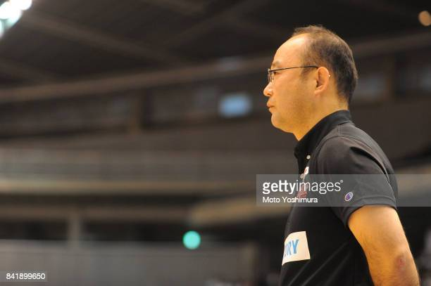 Head coach Shimpei Oikawa of Japan looks on during the Wheelchair Basketball World Challenge Cup third place match between Turkey and Japan at the...