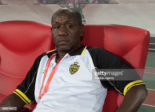 ASEC head coach Siaka Traore sits on the bench during the Group A match of CAF Champions League between Wydad Casablanca and ASEC at the Prince...