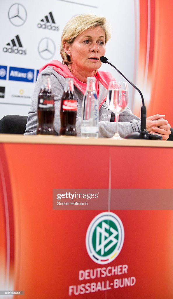 Head coach Silvia Neid attends a Germany women's press conference at Volksbank Stadion on October 29, 2013 in Frankfurt am Main, Germany.