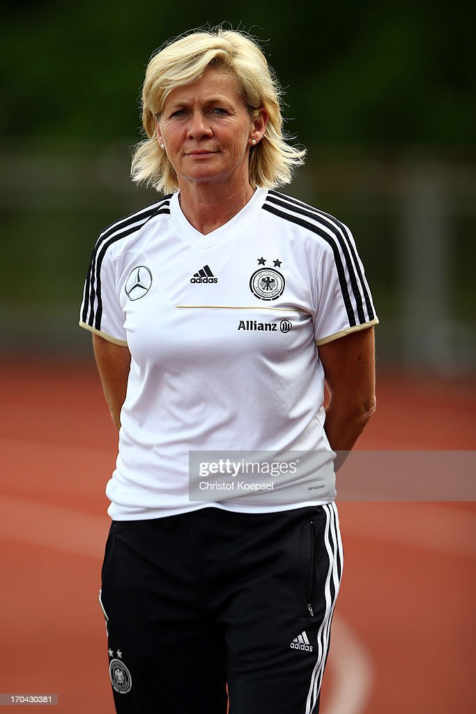 Head coach Silvia Neid attends the training session of Women's Team Germany at training ground Ueberruhr on June 13, 2013 in Essen, Germany.