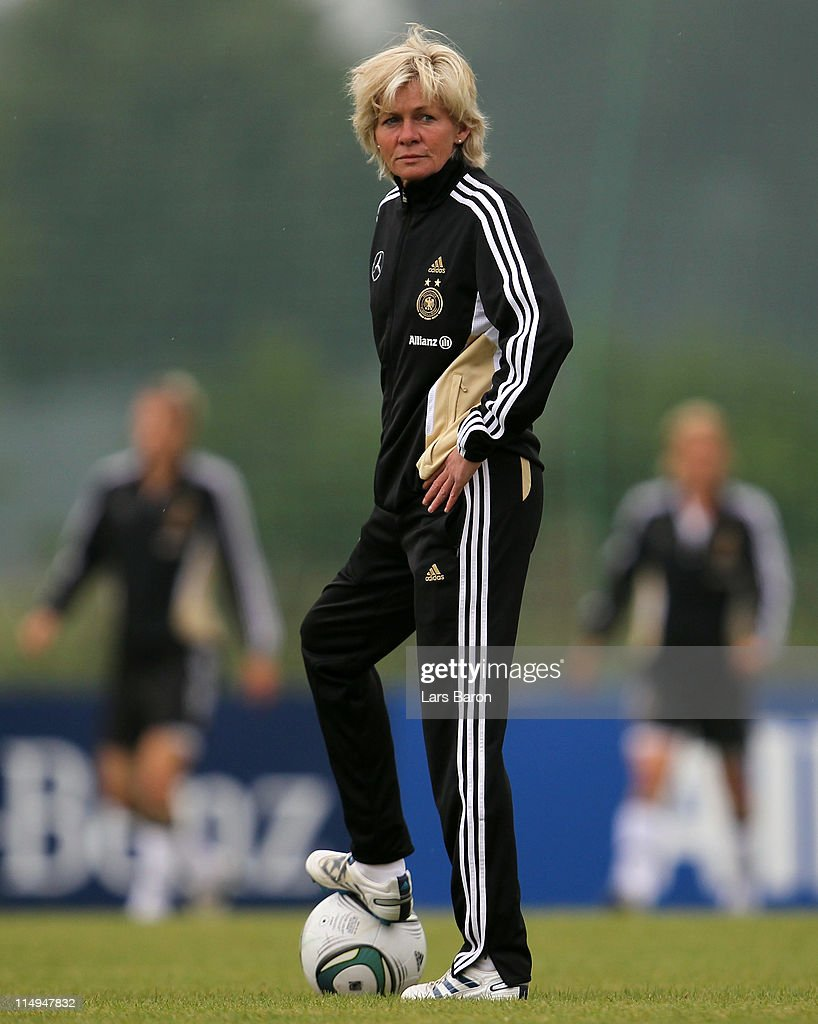 Head coach Silvia Neid looks on during a German Women National Team training session at Hotel Klosterpforte on May 31 2011 in Marienfeld Germany