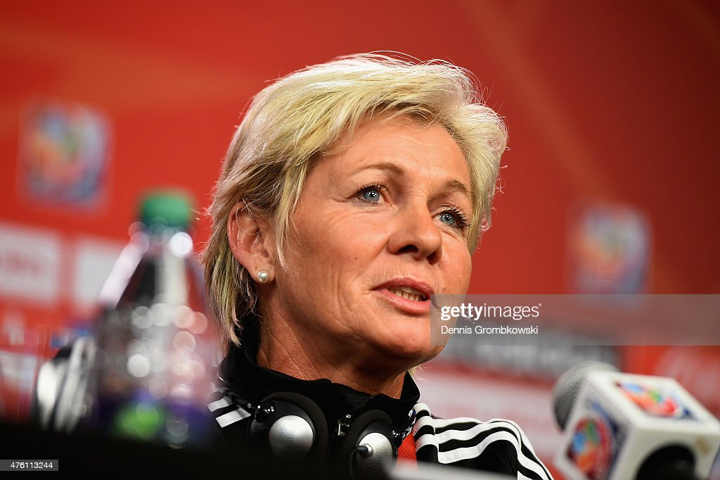 Head coach Silvia Neid of Germany attends a press conference ahead of their Group B match against Cote d'Ivoire at Lansdowne Stadium on June 6 2015...