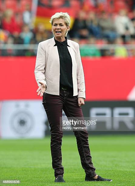 Head coach Silvia Neid of Germany is pictured prior to the UEFA Women's Euro 2017 Qualifier between Germany and Hungary at Erdgas Sportpark on...