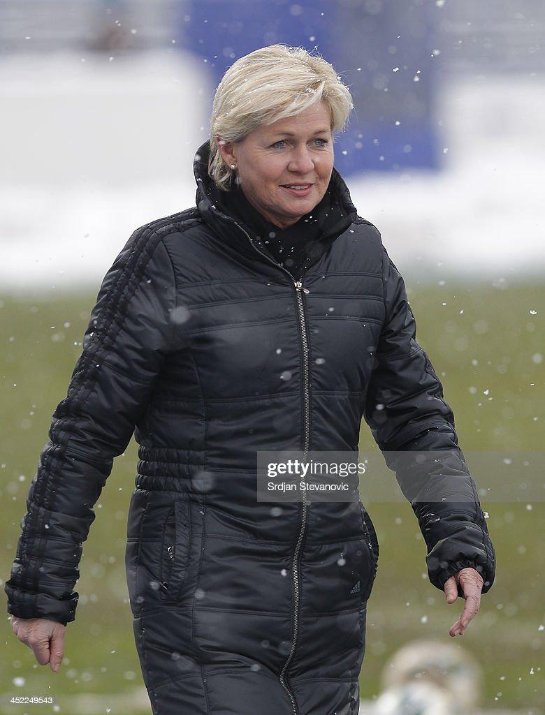 Head coach Silvia Neid of Germany looks on before the FIFA Women's World Cup 2015 Qualifier between Croatia and Germany at Stadion Gradski Vrt on November 27, 2013 in Osijek, Croatia.