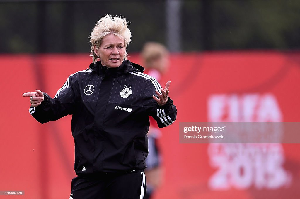 Head coach Silvia Neid of Germany looks on during a training session at Richcraft Recreation Center on June 1 2015 in Ottawa Canada