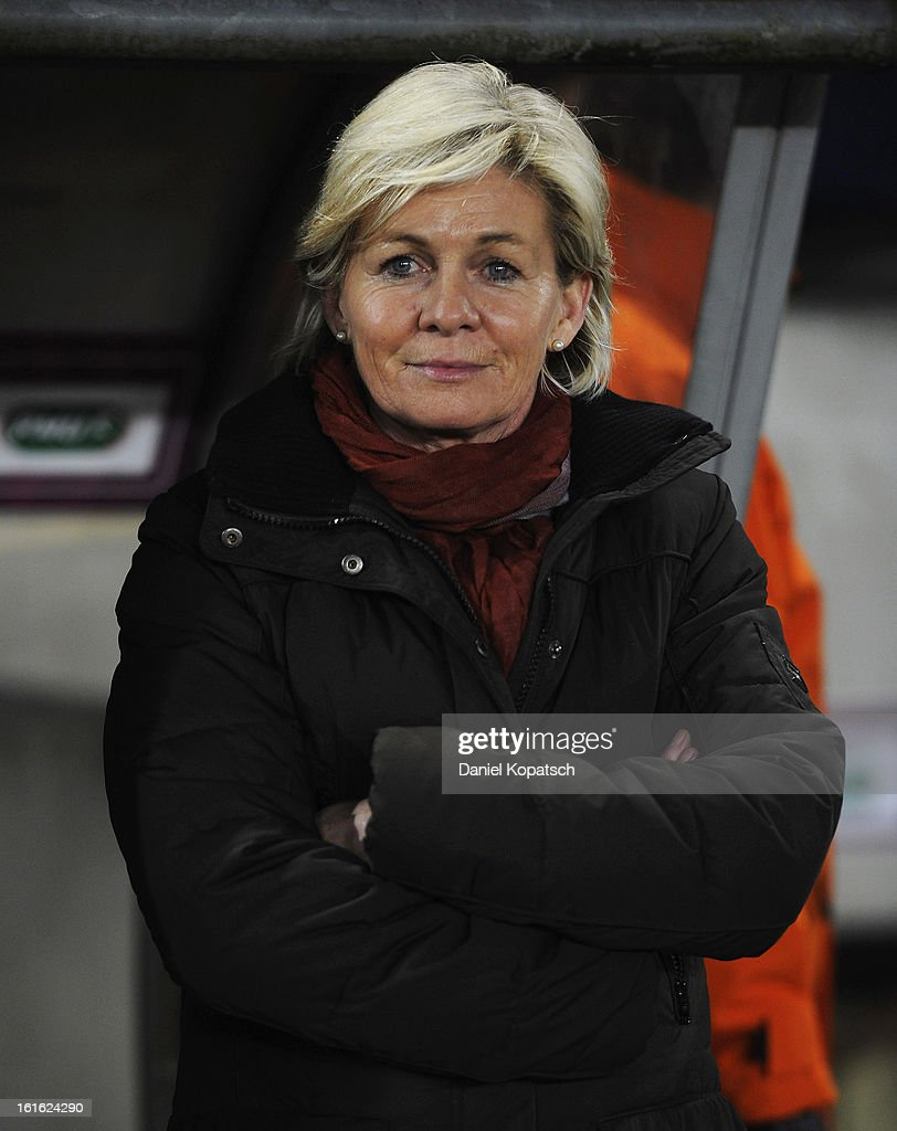 Head coach <a gi-track='captionPersonalityLinkClicked' href=/galleries/search?phrase=Silvia+Neid&family=editorial&specificpeople=641230 ng-click='$event.stopPropagation()'>Silvia Neid</a> of Germany looks on prior the international friendly match between France and Germany at Stade de la Meinau on February 13, 2013 in Strasbourg, France.