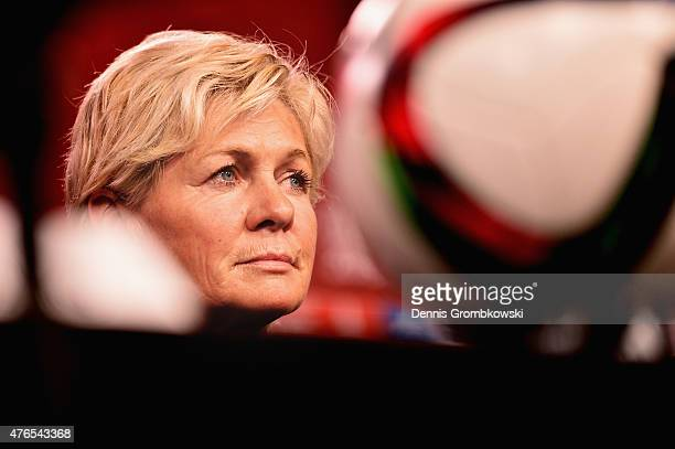 Head coach Silvia Neid of Germany reacts during a press conference at Lansdowne Stadium on June 10 2015 in Ottawa Canada