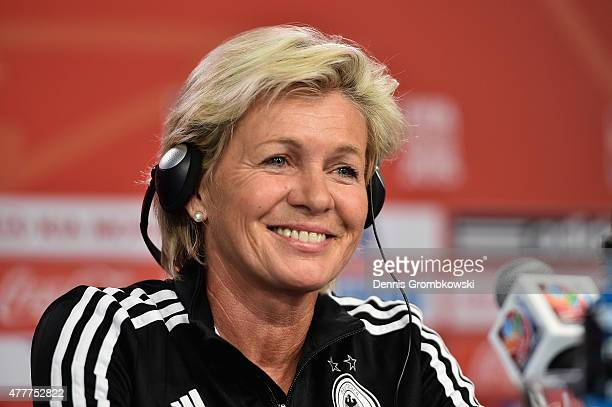 Head coach Silvia Neid of Germany reacts during a press conference at Lansdowne Stadium on June 19 2015 in Ottawa Canada
