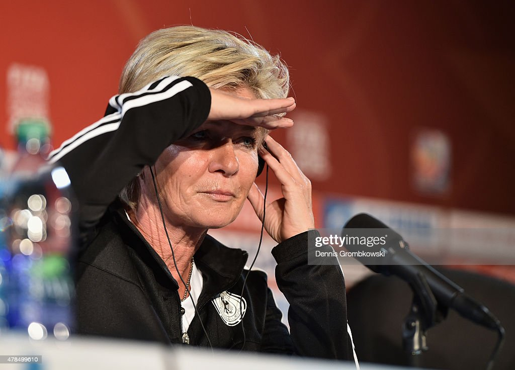 Head coach Silvia Neid of Germany reacts during a press conference at Stade Olympique de Montreal on June 25, 2015 in Montreal, Canada.