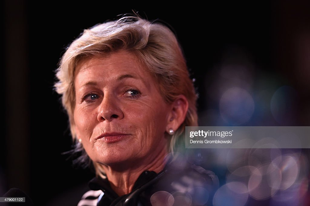 Head coach Silvia Neid of Germany reacts during a press conference at Olympic Stadium ahead of their semi final match against the United States on June 29, 2015 in Montreal, Canada.