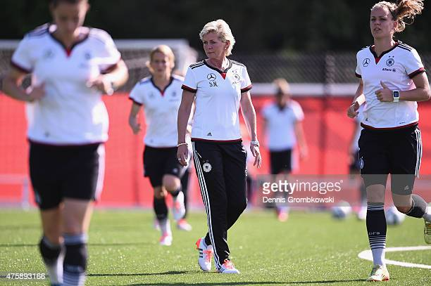 Head coach Silvia Neid of Germany reacts during a training session at Richcraft Recreation Complex on June 4 2015 in Ottawa Canada