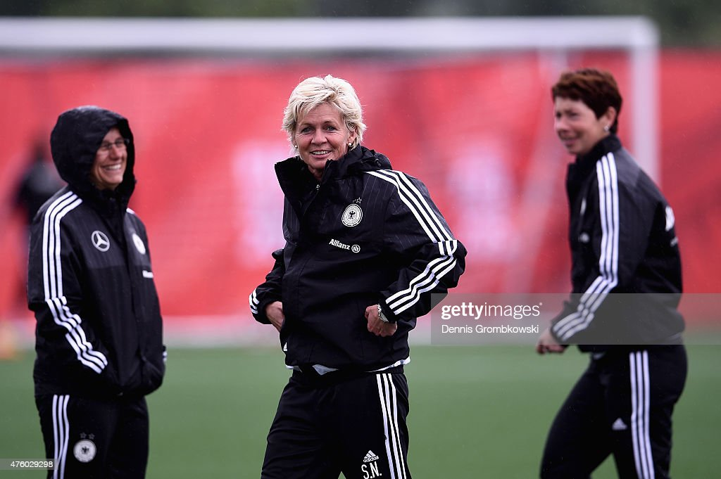 Head coach Silvia Neid of Germany reacts during a training session at Wesley Clover Park on June 5 2015 in Ottawa Canada