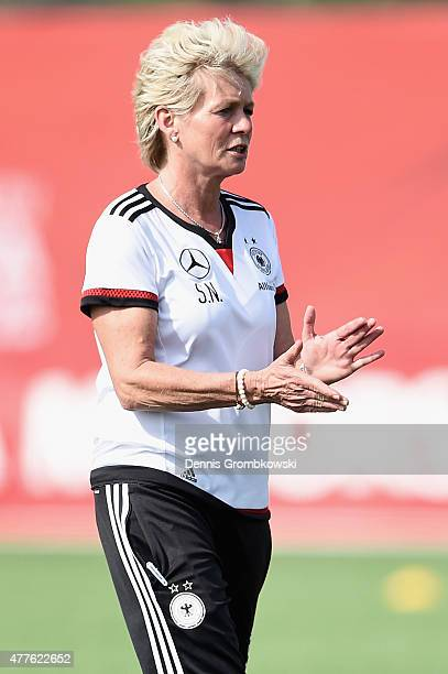 Head coach Silvia Neid of Germany reacts during a training session at Wesley Clover Park on June 18 2015 in Ottawa Canada