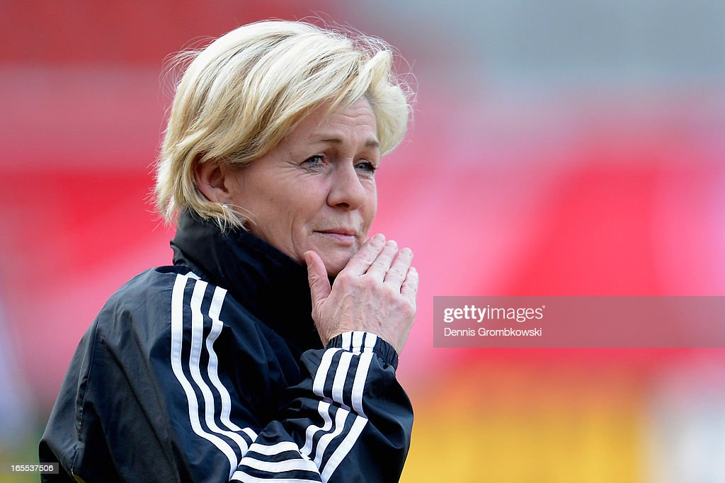 Head coach Silvia Neid of Germany reacts during a training session ahead of their match against the United States of America on April 4 2013 in...