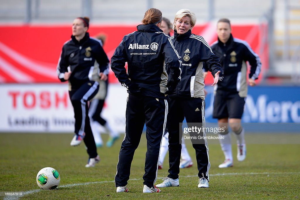 Head coach Silvia Neid of Germany reacts during a training session ahead of their match against the United States of America on April 4, 2013 in Frankfurt am Main, Germany.