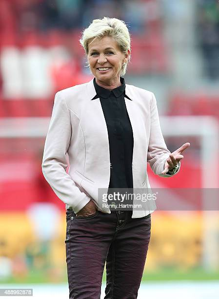 Head coach Silvia Neid of Germany smiles prior to the UEFA Women's Euro 2017 Qualifier between Germany and Hungary at Erdgas Sportpark on September...