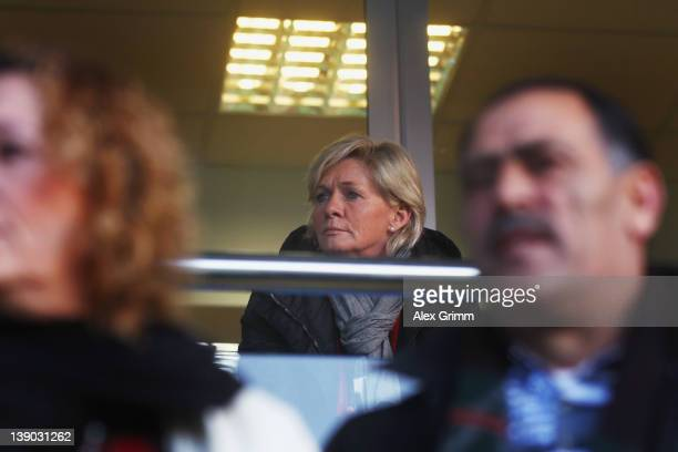 Head coach Silvia Neid of Germany watches the Women's Euro Qualifier between Turkey and Germany from the tribune at Buca Arena on February 15 2012 in...