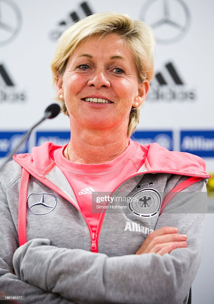 Head coach Silvia Neid smiles during a Germany women's press conference at Volksbank Stadion on October 29, 2013 in Frankfurt am Main, Germany.