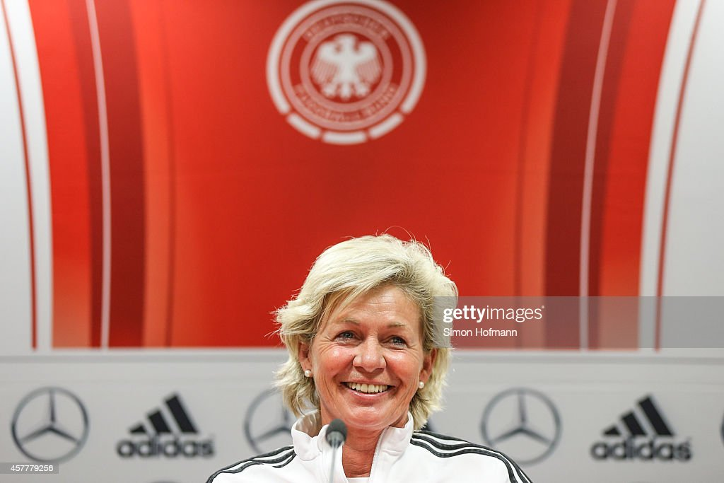 Head coach Silvia Neid smiles during a Germany Women's Press Conference on October 24 2014 in Offenbach Germany