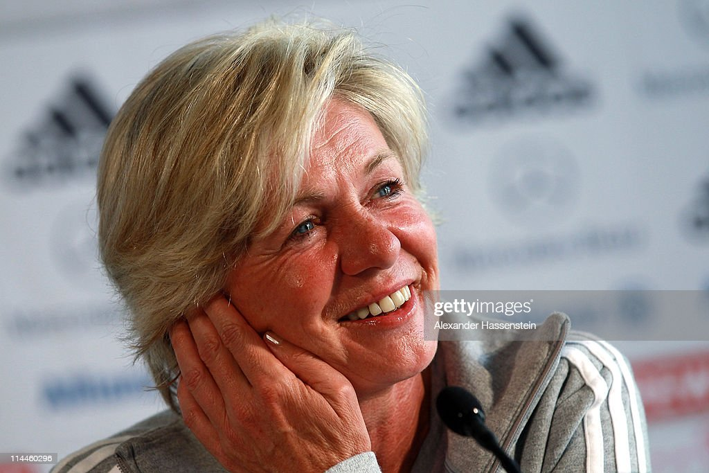 Head coach Silvia Neid smiles during a press conference of Germany at adidas headquater on May 20 2011 in Ingolstadt Germany