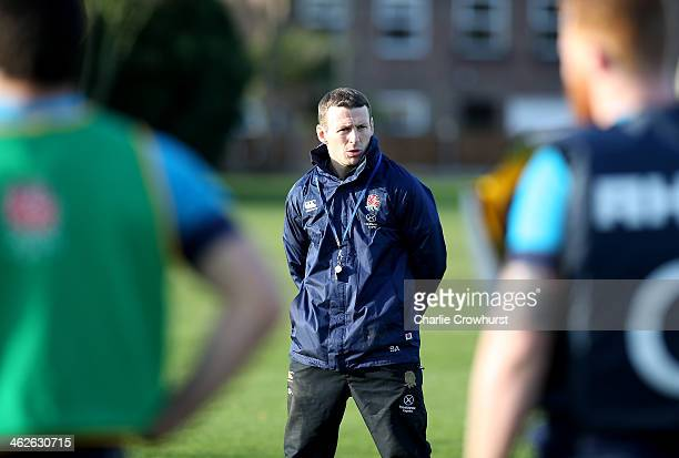 Head Coach Simon Amor keeps an eye on the training session during an England Sevens media access day at The Imperial College Sports Ground on January...
