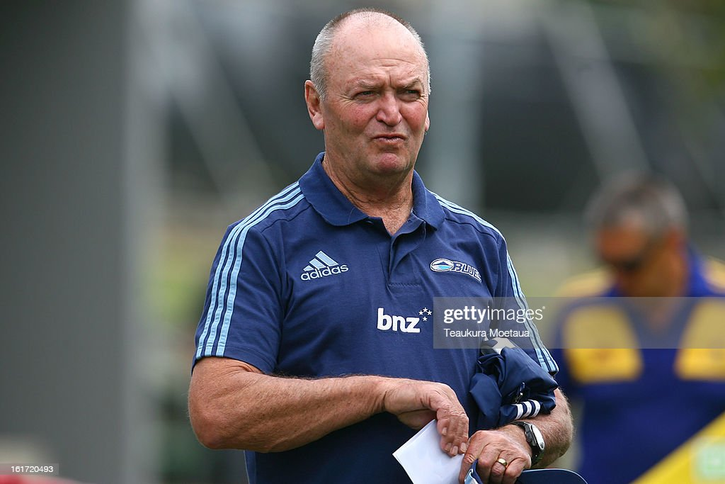 Head Coach Sir Graham Henry of the Blues looks on before the Super Rugby trial match between the Highlanders and the Blues at the Queenstown Recreation Ground on February 15, 2013 in Queenstown, New Zealand.