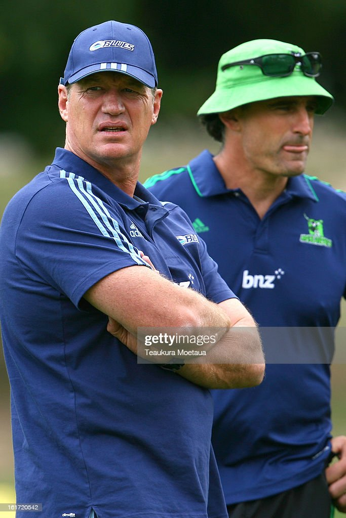 Head Coach Sir John Kirwan (L) of the Blues and Assistant Coach Scott Mcleod (R) of the Highlanders looks on before the Super Rugby trial match between the Highlanders and the Blues at the Queenstown Recreation Ground on February 15, 2013 in Queenstown, New Zealand.