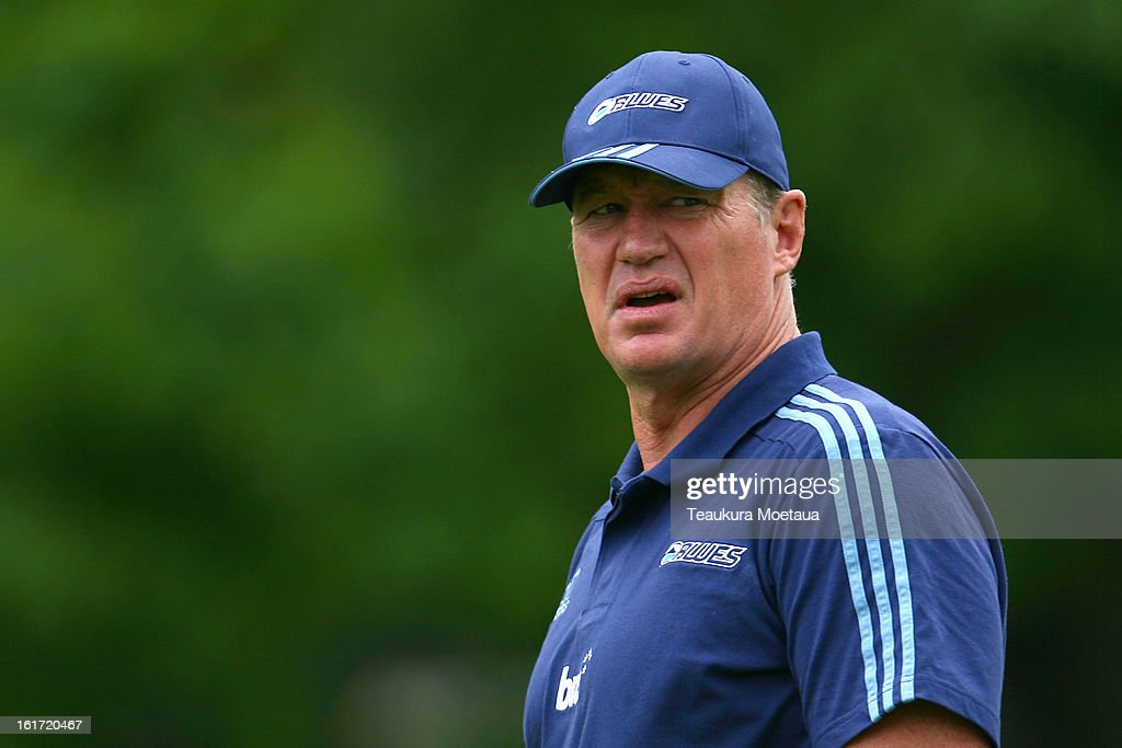 Head Coach Sir John Kirwan of the Blues looks on before the Super Rugby trial match between the Highlanders and the Blues at the Queenstown Recreation Ground on February 15, 2013 in Queenstown, New Zealand.