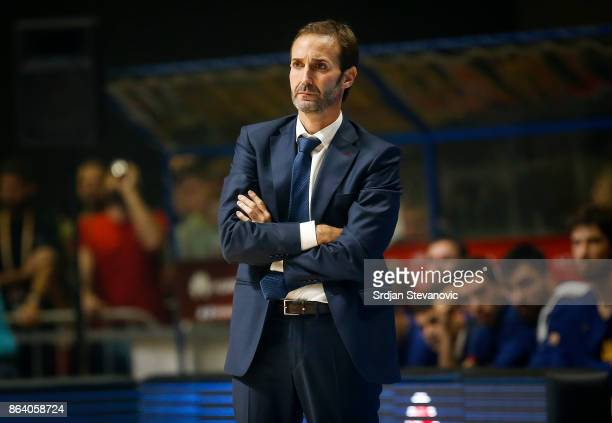 Head coach Sito Alonso of Barcelona looks on during the 2017/2018 Turkish Airlines EuroLeague Regular Season game between Crvena Zvezda mts Belgrade...
