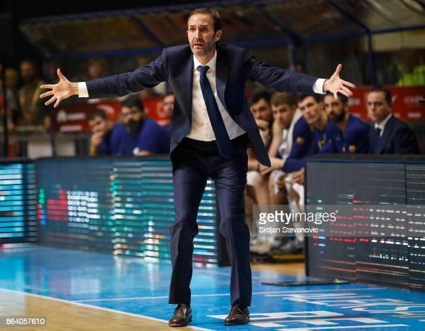 Head coach Sito Alonso of Barcelona reacts during the 2017/2018 Turkish Airlines EuroLeague Regular Season game between Crvena Zvezda mts Belgrade...
