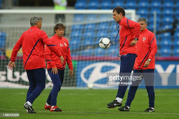 Head coach Slaven Bilic of Croatia attends a Croatia training session prior to the UEFA EURO 2012 Group C match against Ireland at the Municipal...