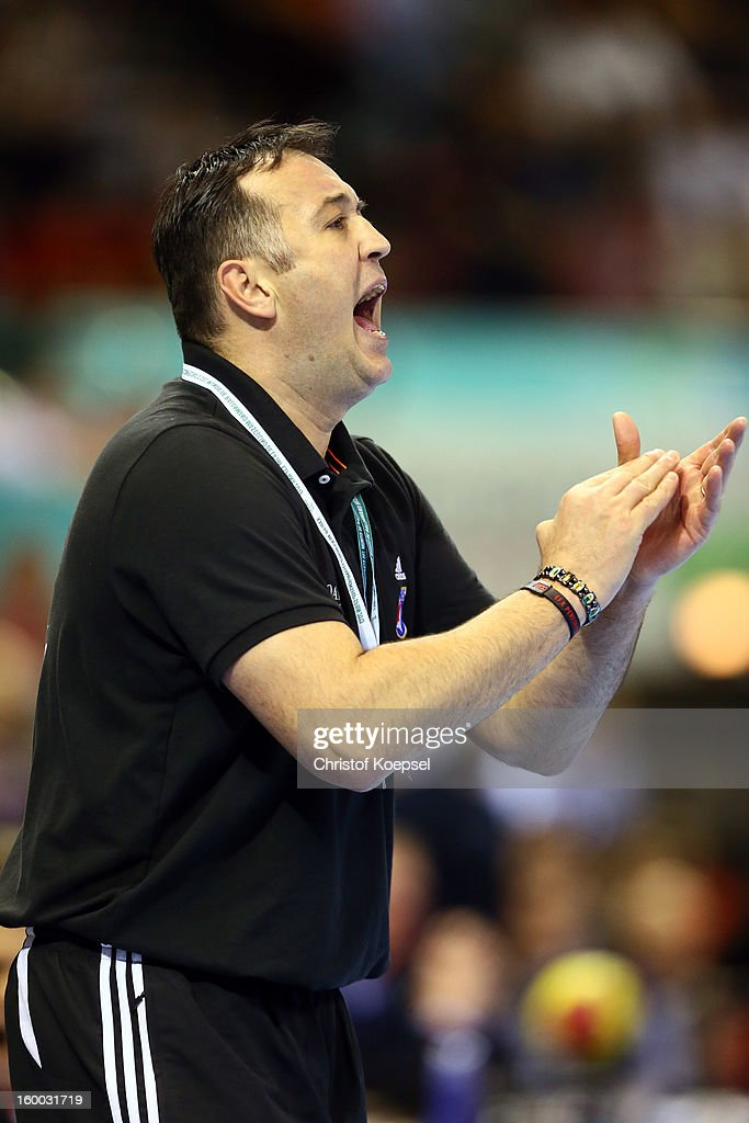 Head coach Slavko Goluza of Croatia applauds his team during the quarterfinal match between France and Croatia at Pabellon Principe Felipe Arena on January 23, 2013 in Barcelona, Spain.