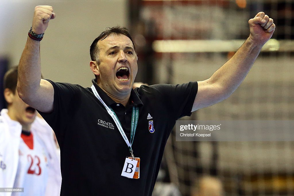 Head coach Slavko Goluza of Croatia celebrates during the quarterfinal match between France and Croatia at Pabellon Principe Felipe Arena on January 23, 2013 in Barcelona, Spain.