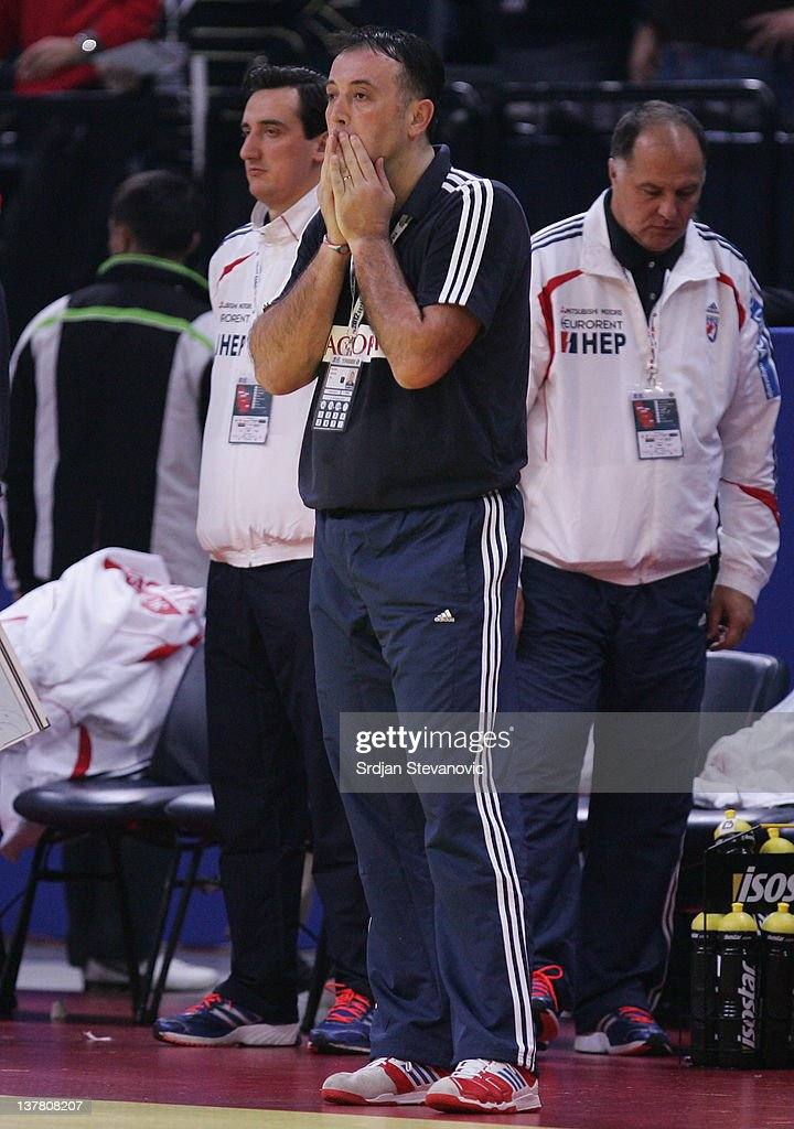 Head coach Slavko Goluza of Croatia looks dejected after Croatia lost the Men's European Handball Championship 2012 semifinal match against Serbia at Arena Hall on January 27, 2012 in Belgrade, Serbia.