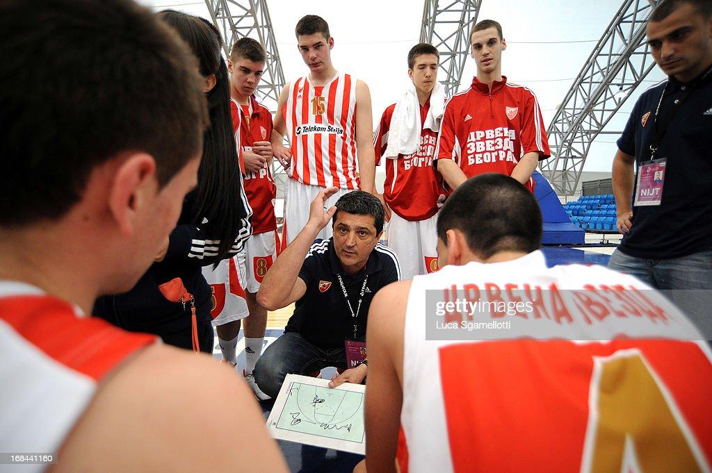 Head coach Slobodan Klipa of Crvena Zvezda Telekom Belgrade directs his team during the Nike International Junior Tournament game between Team China Vs Crvena Zvezda Telekom Belgrade at Soccerdome on May 9, 2013 in London, United Kingdom.