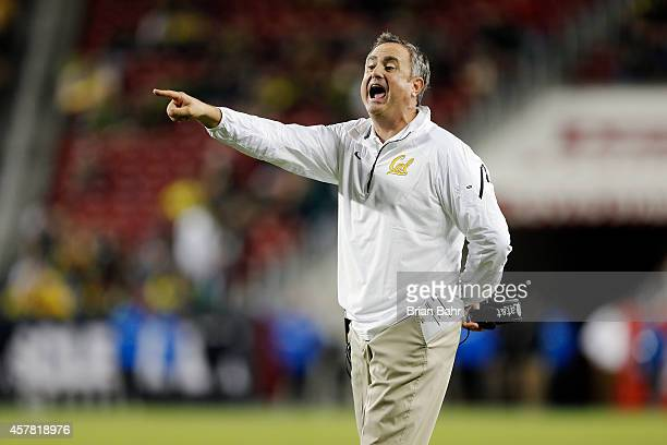 Head coach Sonny Dykes of the California Golden Bears calls for a twopoint conversion attempt against the Oregon Ducks in the fourth quarter on...