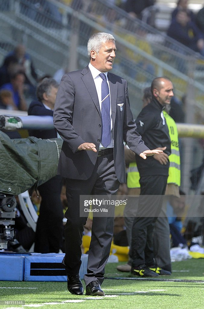 Head coach S.S. Lazio Vladimir Petkovic reacts during the Serie A match between Parma FC and S.S. Lazio at Stadio Ennio Tardini on April 28, 2013 in Parma, Italy.