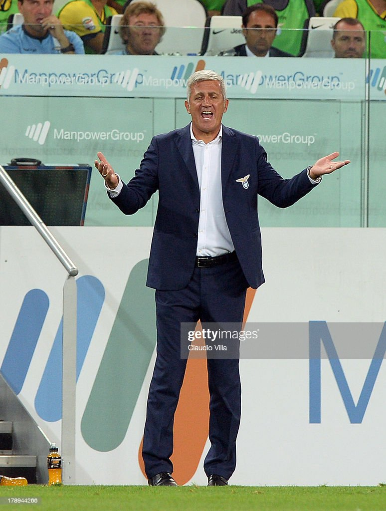 Head coach SS Lazio Vladimir Petkovic reacts during the Serie A match between Juventus and SS Lazio at Juventus Arena on August 31, 2013 in Turin, Italy.