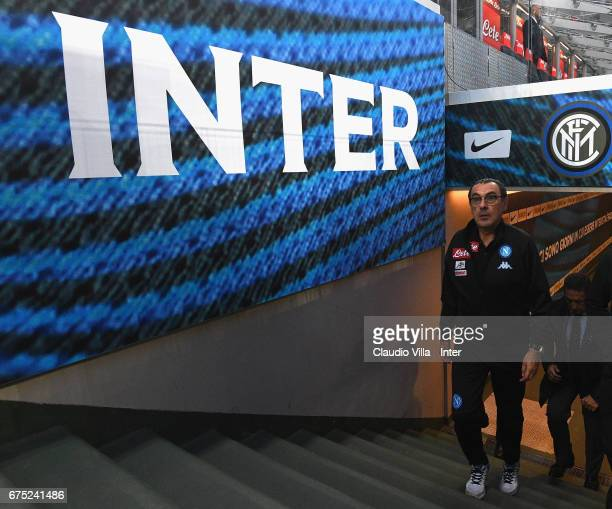 Head coach SSC Napoli Maurizio Sarri looks on prior to the Serie A match between FC Internazionale and SSC Napoli at Stadio Giuseppe Meazza on April...