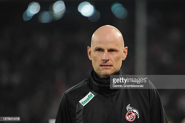 Head coach Stale Solbakken of Cologne looks on prior to the Bundesliga match between 1 FC Koeln and FC Schalke 04 at RheinEnergieStadion on January...
