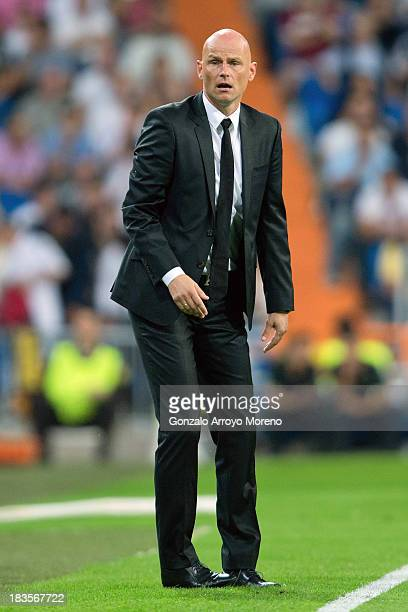 Head coach Stale Solbakken of FC Copenhagen looks on during the UEFA Champions League group B match between Real Madrid CF and FC Copenhagen at...