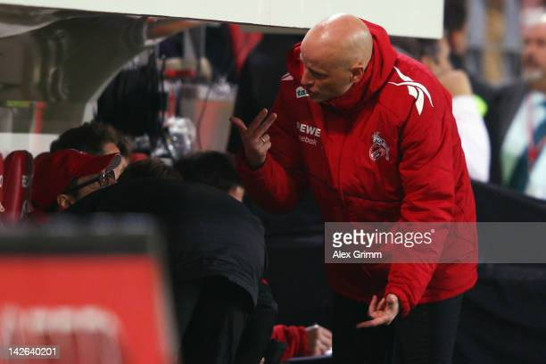 Head coach Stale Solbakken of Koeln reacts during the Bundesliga match between between FSV Mainz 05 and 1 FC Koeln at Coface Arena on April 10 2012...
