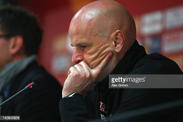 Head coach Stale Solbakken of Koeln reacts during the press conference after the Bundesliga match between between FSV Mainz 05 and 1 FC Koeln at...