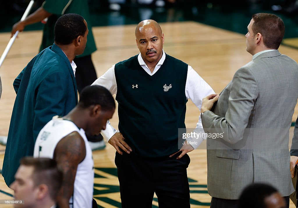 Head coach Stan Heath of the South Florida Bulls direct his team against the Notre Dame Fighting Irish during the game at the Sun Dome on January 26, 2013 in Tampa, Florida.
