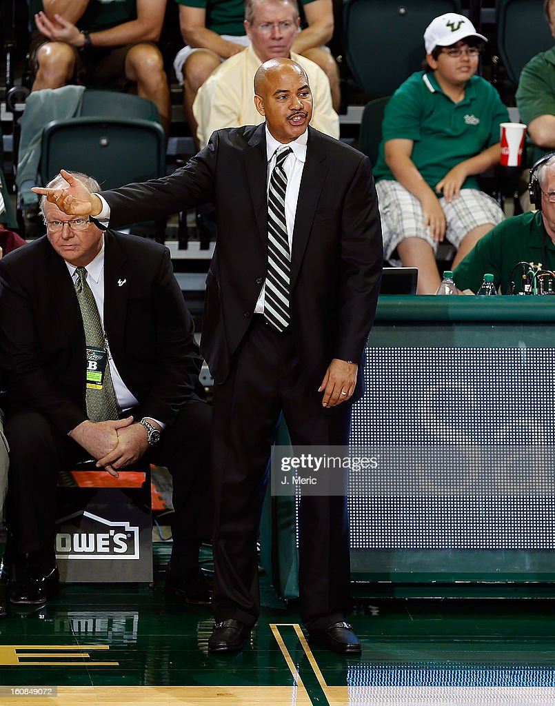 Head coach Stan Heath of the South Florida Bulls directs his team against the Marquette Golden Eagles during the game at the Sun Dome on February 6, 2013 in Tampa, Florida.